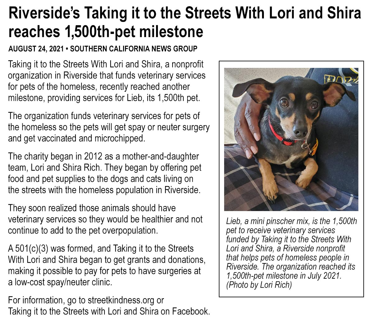 Riverside's Taking it to the Streets With Lori and Shira reaches 1,500th-pet milestone