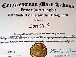 Congressman Mark Takano Certificate of Recognition
