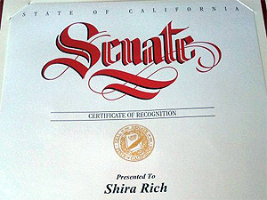 Certificate from California Senator Richard Roth